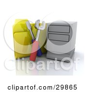 Computer Tower With Tools And A Yellow File Folder