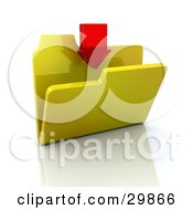 Clipart Illustration Of A Red Transparent Arrow Pointing Down Into A Yellow Folder by KJ Pargeter