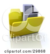 Clipart Illustration Of A Text Document In An Open Yellow Folder by KJ Pargeter
