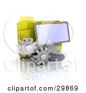 Yellow Folder Behind A Computer Screen With Two Cogs