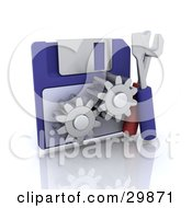 Clipart Illustration Of Tools Beside A Floppy Disk With Cogs by KJ Pargeter