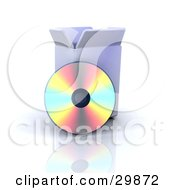 Cd Reflecting Colorful Light While Resting Against A Software Box