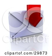 Red Transparent Arrow In Front Of A Sealed Envelope