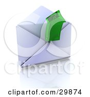 Clipart Illustration Of A Green Transparent Arrow Emerging From An Open Envelope by KJ Pargeter