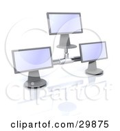 Clipart Illustration Of Three Computer Monitor Screens Connected Together by KJ Pargeter