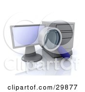 Clipart Illustration Of A Magnifying Glass Doing A Search On A Desktop Computer