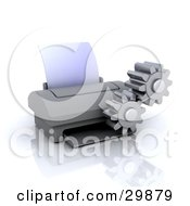 Clipart Illustration Of A Pair Of Cogs Working By A Computer Printer