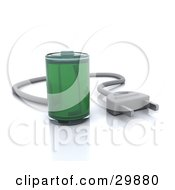 Clipart Illustration Of A Fully Powered Green Battery With A Cable Plug