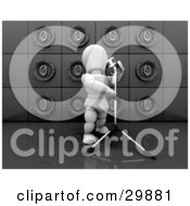Clipart Illustration Of A White Character Singing Into Microphone On A Stand In Front Of A Wall Of Black Speakers