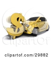 Clipart Illustration Of A Gold Car Crashing Into A Large Dollar Sign Symbolizing Auto Insurance Claims Or A Crashing Economy by KJ Pargeter