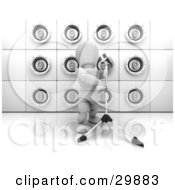 Clipart Illustration Of A Singing White Character With A Microphone On A Stand In Front Of A Wall Of White Speakers by KJ Pargeter
