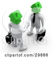 Poster, Art Print Of 3d White Businessmen With Green House Heads Carrying Briefcases And Shaking Hands Symbolizing Selling Or Buying Homes