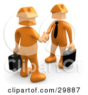 Clipart Illustration Of 3D Orange Businessmen With House Heads Carrying Briefcases And Shaking Hands Symbolizing Selling Or Buying Homes