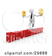 Clipart Illustration Of A 3D White Businessman Walking Across The Red Word INVESTMENT And Carrying Two Golden Dollar Signs In His Hands