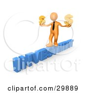 3D Orange Businessman Walking Across The Blue Word INVESTMENT And Carrying Two Golden Dollar Signs In His Hands by 3poD