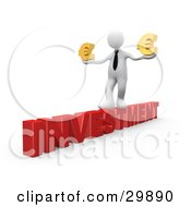 Clipart Illustration Of A 3D White Businessman Walking Across The Red Word INVESTMENT And Carrying Two Golden Euro Signs In His Hands by 3poD