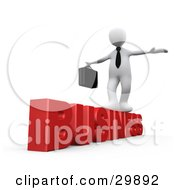 Clipart Illustration Of A 3D White Person Carrying A Briefcase And Trying To Maintain His Balance While Walking On Red Business by 3poD
