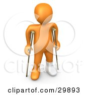 3D Orange Person With A Cast On His Broken Foot Using A Pair Of Crutches To Get Around by 3poD