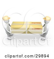 Clipart Illustration Of Two 3D White People Carrying A Large Parcel Package Shipped Via Express Freight by 3poD