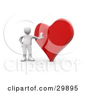 Clipart Illustration Of A 3D White Person Leaning Against A Reflective Red Heart by 3poD