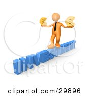 3D Orange Businessman Walking Across The Blue Word INVESTMENT And Carrying Two Golden Euro Signs In His Hands