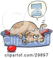 Clipart Illustration Of A Sleepy Dog Napping In A Dog Bed A Ball At His Side Holding One Ear Up And One Eye Open