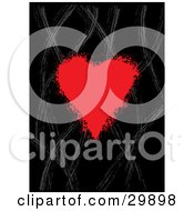 Clipart Illustration Of A Red Grunge Heart With Splattered Edges Over A Black Background With Gray Wavy Lines