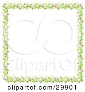Clipart Illustration Of A Border Of Green Leaves Pink And Green Flowers And Yellow And Pink Bows Over A White Background
