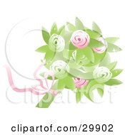 Clipart Illustration Of A Bridal Bouquet Of Pink And Green Roses And Flowers With A Pink Ribbon