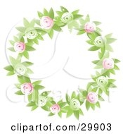 Clipart Illustration Of A Round Floral Wreath Of Green And Pink Flowers And Leaves
