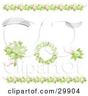 Clipart Illustration Of Design Elements Of Green And Pink Rose Borders Bouquet Wreath And Corsage With A Tiara Earrings And A Necklace