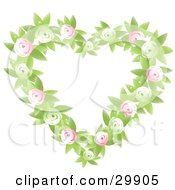 Clipart Illustration Of A Green And Pink Rose And Leaf Heart Shaped Floral Wreath