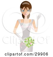 Clipart Illustration Of A Beautiful Brunette Caucasian Woman Bride Princess Or Beauty Contestant In A Tiara White Dress And Gloves Waving While Carrying A Bouquet by Melisende Vector