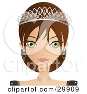 Clipart Illustration Of A Beautiful Green Eyed Brunette Caucasian Woman In A Tiara And Jewelery by Melisende Vector