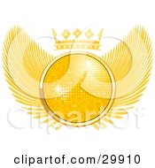 Clipart Illustration Of A Golden 3D Disco Ball Sparkling In The Center Of A Winged Crest With A Crown On Top