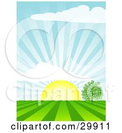 Clipart Illustration Of The Morning Sun Rising Over A Tree In A Field Casting Rays Of Sunshine In The Sky And On The Land
