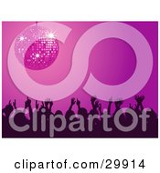 Clipart Illustration Of A Silhouetted Crowd Of Men And Women Waving Their Arms In The Air And Dancing Under A Purple Disco Ball In A Night Club by elaineitalia