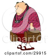 Clipart Illustration Of A White Man Dressed In Red Wearing A Camera Around His Neck And Carrying Luggage In An Airport by djart