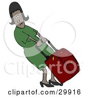 Clipart Illustration Of A Black Woman In A Green Dress Trying To Pull A Heavy Rolling Suitcase