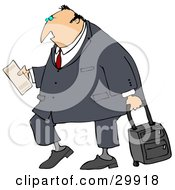 Clipart Illustration Of A White Traveling Businessman Carrying His Plane Ticket And Pulling Rolling Luggage