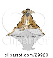 Clipart Illustration Of A Gangster Groundhog With A Golden Grill Tooth Wearing Bling And Other Jewelry Emerging From His Burrow Only To See His Shadow