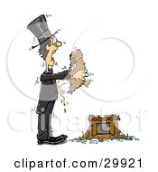 Clipart Illustration Of A Mischievous Groundhog Peeing On A Shocked Man As He Lifts The Animal From The Burrow