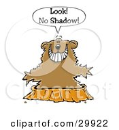 Clipart Illustration Of A Happy Ground Hog Holding His Arms Out While Emerging From His Burrow And Not Seeing A Shadow