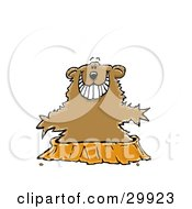 Clipart Illustration Of A Happy Groundhog Without A Shadow Emerging From His Hole by Spanky Art