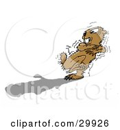 Clipart Illustration Of A Shaking Groundhog Afraid Of His Own Shadow