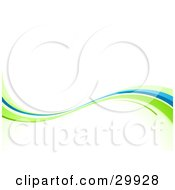 Clipart Illustration Of A Green And Blue Nature Wave Background On White