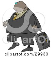Clipart Illustration Of A Black Businessman In A Suit Pulling A Rolling Suitcase Behind Him