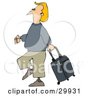 Clipart Illustration Of A Blond White Man Walking Through An Airport Pulling A Rolling Suitcase Behind