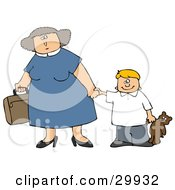 Clipart Illustration Of A Mother Carrying A Suitcase And Holding Hands With Her Son That Is Carrying A Teddy Bear