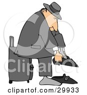 Clipart Illustration Of A White Traveling Businessman Standing In Front Of His Suitcase And Putting His Shoes On by djart